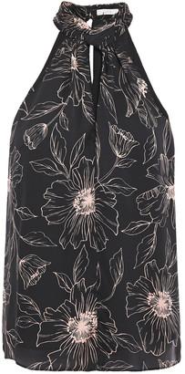 Joie Cutout Floral-print Satin-crepe Top
