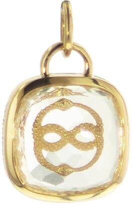 Foundrae Cushion Cut Sealed Quartz Wholeness Charm - Yellow Gold