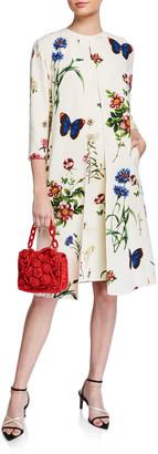 Oscar de la Renta Floral Print Crepe 3/4-Sleeve Collared Coat
