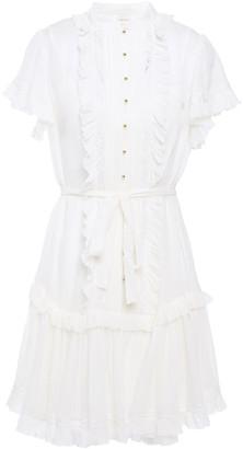 Zimmermann Lace-trimmed Ruffled Silk-blend Gauze Mini Dress