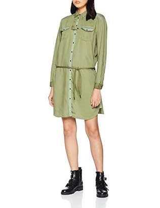 Scotch & Soda Maison Women's Utility Shirt Dress in Tencel Quality and Colour Blocking De Dress, Green (Military 65), Medium