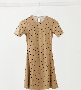 ASOS DESIGN Petite mini tea dress in camel and black spot