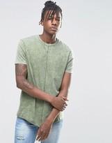 Asos Longline T-Shirt In Acid Wash Green