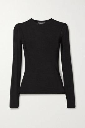 Vince Ribbed Tencel And Wool-blend Top - Black