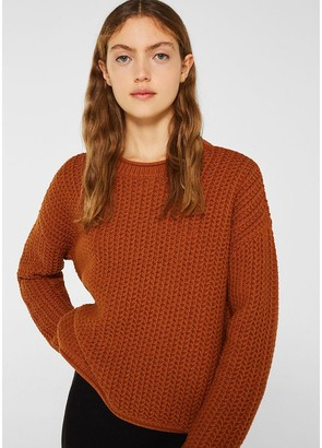 Esprit Cotton Mix Jumper in Chunky Openwork Knit with Crew-Neck