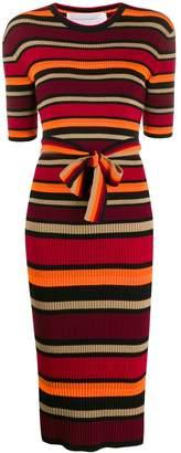 Victoria Victoria Beckham Short-Sleeve Striped Sweater Dress