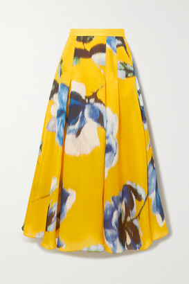 Carolina Herrera Pleated Floral-print Silk Maxi Skirt - Yellow