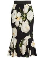 Dolce & Gabbana Tulip-print stretch-silk skirt