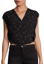 L'Agence Lee Silk Crossover Star-Print Blouse
