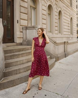 The Drop Women's Bordeaux Floral Deep V-Neck Cap Sleeve Midi Dress by @charlottebridgeman XS