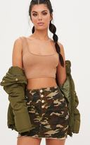 PrettyLittleThing Khaki Camouflage Denim Mini Skirt