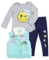 Flapdoodles Little Girl's Three-Piece Faux Fur-Trimmed Vest, Printed Top and Pants Sets