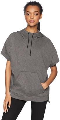 Core 10 Amazon Brand Women's Motion Tech Fleece Relaxed Fit Short Sleeve Sweatshirt Hoodie