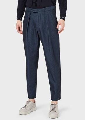 Giorgio Armani Trousers With Darts In Comfortable Linen Denim