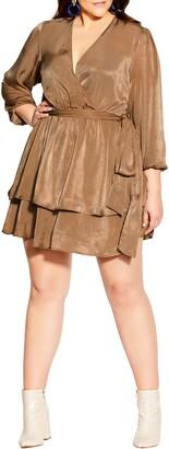 City Chic Twisted Ruffle Dress