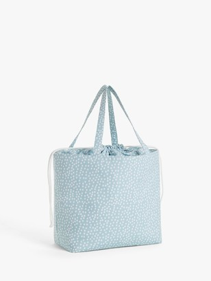 John Lewis & Partners Mini Spot Print Sewing Bag, Duck Egg Blue
