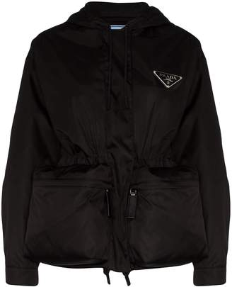Prada logo plaque parka jacket