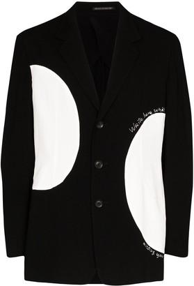 Yohji Yamamoto Contrast-Circle Single-Breasted Blazer