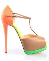 Neon Contrast T Strap Heel