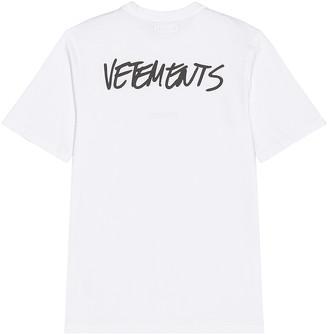 Vetements Written Logo T-Shirt in White   FWRD
