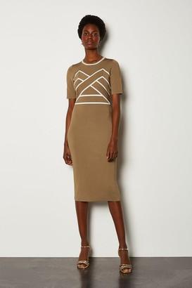 Karen Millen Bold Contrast Stripe Bandage Dress