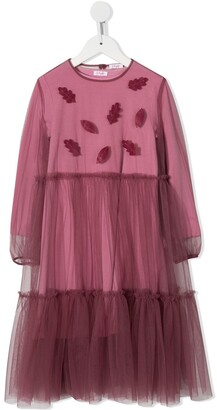 Il Gufo Leaf Detail Tulle Dress