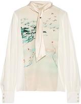 Lanvin Silk-satin Trimmed Printed Silk-gerogette Blouse - Ivory