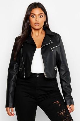 boohoo Plus Faux Leather Stud Collar Cropped Moto Jacket
