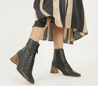 Office Ariella Lace Up Boots Black Leather With Light Stack Heel