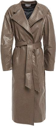 Dagmar House Of Belted Checked Waxed-effect Cotton-blend Trench Coat