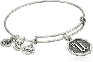 "Alex and Ani Rafaelian Silver-Tone Initial ""U"" Expandable Wire Bangle Bracelet 2.5"""