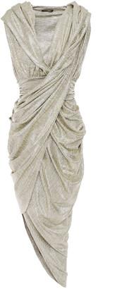 Balmain Draped Textured Stretch-lame Dress