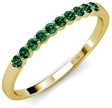 TriJewels Emerald 10 Stone Wedding Band 0.55 ct tw in 14K White Gold.size 8.5