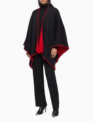 Calvin Klein Reverse Knit Blanket Stitch Shawl