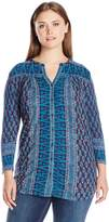Lucky Brand Women's Plus Size Woodblock Printed Top