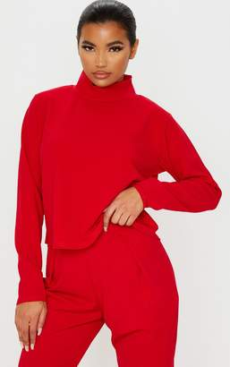 PrettyLittleThing Red Long Sleeve High Neck Sweater