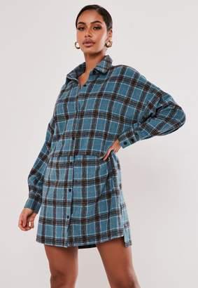 Missguided Premium Blue Check Oversized Dip Back Shirt Dress