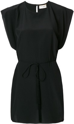 Saint Laurent Tie Waist Mini Dress