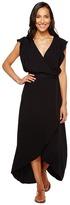 Splendid Solid Ruffle Wrap Dress Women's Dress