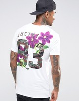 Hype T-Shirt With Floral Logo and Back Print