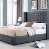 Dark Grey Button Tufted Wing Queen Bed & Deluxe Mattress