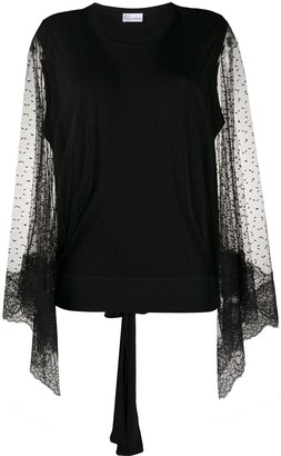 RED Valentino Point D'esprit Draped Sleeves Blouse