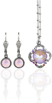 Swarovski Anne Koplik Crystal Clover Pendant and Earring Set