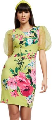 New York & Co. Green Organza-Sleeve Sheath Dress - Magic Crepe