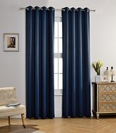 MYSKY HOME Solid Grommet top Thermal Insulated Window Blackout Curtains for Kids Bedroom, 52 by 84 inch, Navy (1 panel)