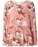 Dorothy Perkins Womens **Vila Pink Long Sleeve Frill Hem Top- Pink