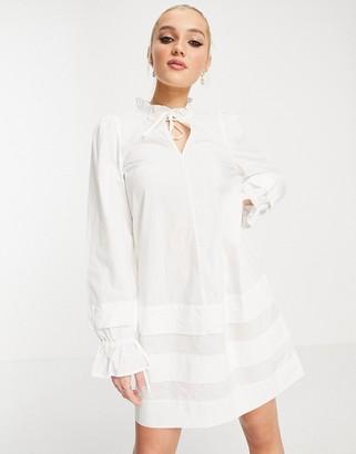 Monki Rosanna mini smock dress with tie detail in white