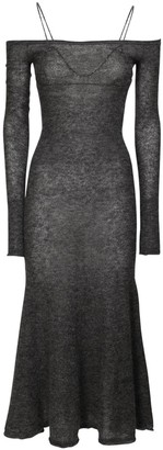 Jacquemus Off-The-Shoulder Knit Mohair Blend Dress