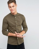 Asos Skinny Shirt In Khaki With Grandad Collar And Long Sleeves