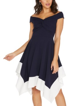 Quiz Off-The-Shoulder Contrast-Hem Dress